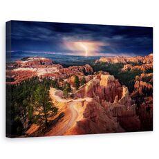Tablou canvas - Fulger peste canionul Bryce, Peisaj, Portocaliu, Furtuna, Orizont, fig. 1