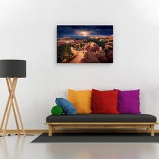 Tablou canvas - Fulger peste canionul Bryce, Peisaj, Portocaliu, Furtuna, Orizont, fig. 2