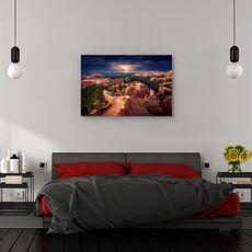 Tablou canvas - Fulger peste canionul Bryce, Peisaj, Portocaliu, Furtuna, Orizont, fig. 3