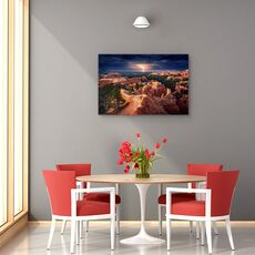 Tablou canvas - Fulger peste canionul Bryce, Peisaj, Portocaliu, Furtuna, Orizont, fig. 4