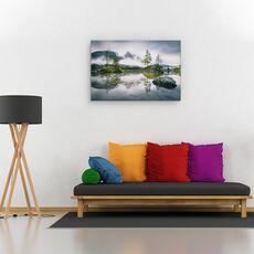 Tablou canvas - Dimineata ploioasa la Hintersee, Peisaj, Copaci, Munte, Rau, fig. 2