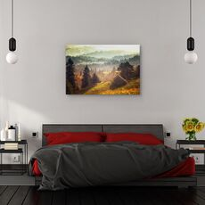 Tablou canvas -  Peisaj, Padure, Copaci, Casa, fig. 3
