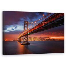 Tablou Canvas - Incendiu Peste San Francisco, Golden Gate, Cer, Apus De Soare, fig. 1