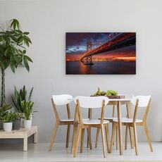 Tablou Canvas - Incendiu Peste San Francisco, Golden Gate, Cer, Apus De Soare, fig. 4
