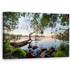 Tablou Canvas - Vedere La Lac, Peisaj, Copac, Jurnal, Frunze, Apa, fig. 1