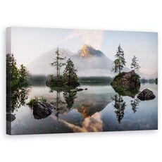 Tablou Canvas - Trezirea Naturii, Peisaj Marin, Apa, Copac, Brad, Pin, Dimineata, fig. 1