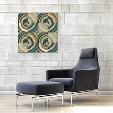 Tablou Canvas - Centrul II, Abstract, Patrat, Triunghi, Geometrie, Cerc, Albastru, Gri, Maro, fig. 1