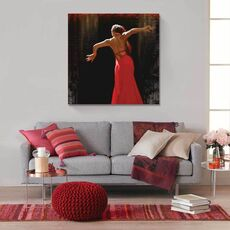 Tablou Canvas - Flamenco II, Rochie, Rosu, Dans, fig. 1
