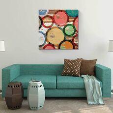 Tablou Canvas - Ambianta IV, Cercuri, Culori, Buline, Maro, Verde, Rosu, fig. 1