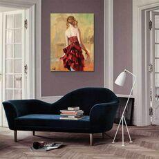 Tablou Canvas - Fata în rochie bronz II, Copil, Retro, fig. 1