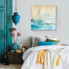 Tablou Canvas - Privire prin ceata, Albastru, Abstract, Alb, Maro, fig. 1