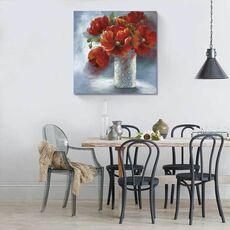 Tablou Canvas - Aranjament în roșu, natura moarta, flori, vaza, fig. 1
