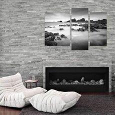 Tablou Multicanvas - Cobiere, Stanci, nori, Alb negru, fig. 2