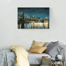 Tablou Canvas - Bright City Lights Blue I, fig. 1