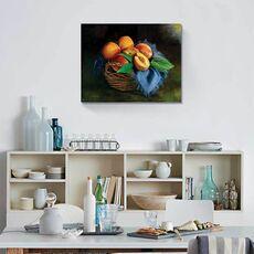 Tablou Canvas - Cos cu piersici, Natura moarta, Fructe,, fig. 1