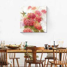 Tablou Canvas - Colibri in gradina I, Pasare, Floare, Roz, fig. 1