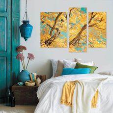 Tablou Multicanvas - Toamna uimitoare, Creanga, Galben, Albastru, Maro, fig. 2