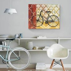 Tablou Canvas - Ciclism I, Bicicleta, Paris, Turnul Eiffel, Retro, Franta, fig. 1