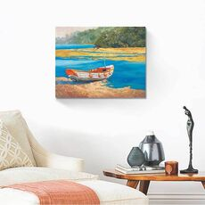 Tablou Canvas - Barca de pescuit, Mal, Lac, Apa, fig. 2