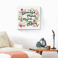 Tablou Canvas - Beautiful minds Inspire others, mesaj, flori, fig. 1