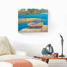 Tablou Canvas - Barca de pescuit II, Mal, Lac, Apa, fig. 2