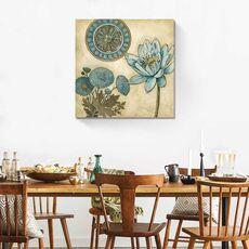 Tablou Canvas - Blue & Taupe Blooms II, fig. 1