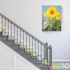 Tablou Canvas - Flori fericite, Galben, Albastru, Frunze, fig. 1