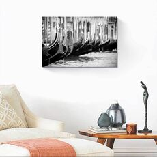 Tablou Canvas - Gondole, Venetia, Italia, Alb negru, fig. 2