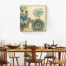 Tablou Canvas - Blue & Taupe Blooms I, fig. 1