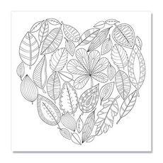 Tablou de colorat - Autumn leaves in the shape of heart, fig. 1