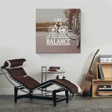 Tablou Canvas - Life is all about balance, Mesaj, Text, Bicicleta, fig. 1
