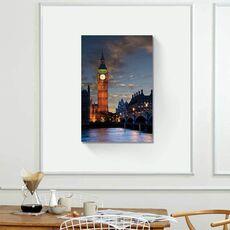 Tablou Canvas - Big Ben, Apus de soare, Lumini, Rau, Pod, Oras, Londra, fig. 1