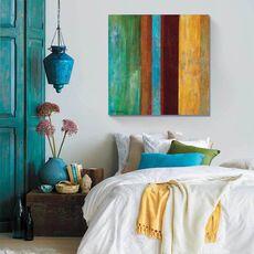 Tablou Canvas - Albastru la mijloc I, abstract, culori, Maro, Verde, Albastru, Verde, fig. 1