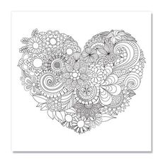 Tablou de colorat - Flowers in the heart, fig. 1