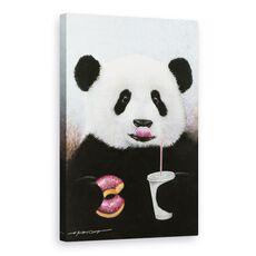 Tablou Canvas - Animale, Ursi Panda, Dulciuri, Bauturi Racoritoare, Pictura, fig. 1