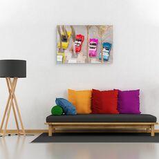 Tablou Canvas - Masini, Colorate, Retro, Copaci, Pictura, fig. 2