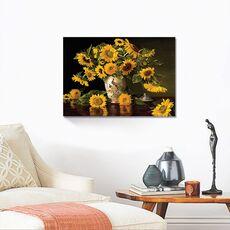Tablou Canvas - Floarea Soarelui, Vaza Alba,  Compozitie, fig. 2