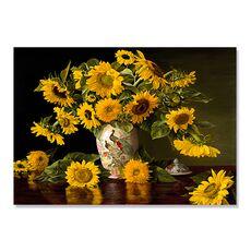 Tablou Canvas - Floarea Soarelui, Vaza Alba,  Compozitie, fig. 1