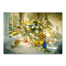 Tablou Canvas - Natura moarta, Flori si Fructe, Dimineata, fig. 1