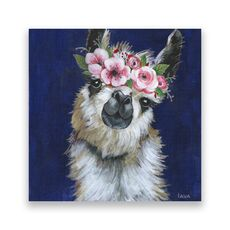 Tablou Canvas - Animal, Lama, Flori, Pictura, fig. 1