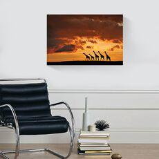 Tablou Canvas -  Girafe, Familie, Soare, Apus, fig. 2
