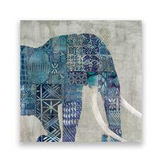 Tablou Canvas - Animal, Elefant, Africa, Pictura, Albastru, fig. 1