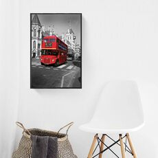 Tablou Canvas Inramat - Canbox - Oras, Arhitectura, Londra, Red Bus, Rama Neagra, fig. 2
