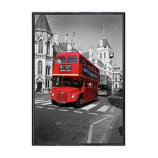 Tablou Canvas Inramat - Canbox - Oras, Arhitectura, Londra, Red Bus, Rama Neagra, fig. 1