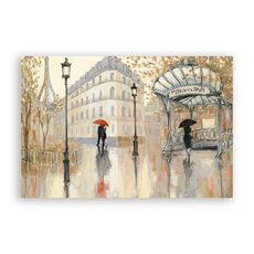Tablou Canvas - Franta, Paris, Turnul Eiffel, Oras, Cladiri, Oameni, Umbrela, Pictura, fig. 1