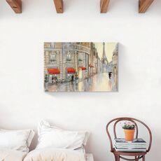 Tablou Canvas - Franta, Paris, Oras, Cladiri, Turnul Eiffel, Oameni, Umbrela, Pictura, fig. 2