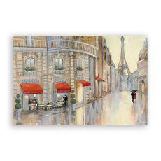 Tablou Canvas - Franta, Paris, Oras, Cladiri, Turnul Eiffel, Oameni, Umbrela, Pictura, fig. 1
