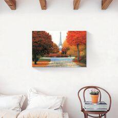 Tablou Canvas - Franta, Paris, Turnul Eiffel, Oras, Cladiri, Oameni, Frunze,Toamna, Pictura, fig. 2