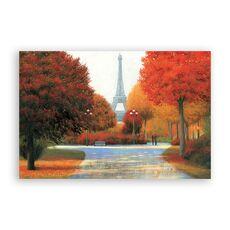Tablou Canvas - Franta, Paris, Turnul Eiffel, Oras, Cladiri, Oameni, Frunze,Toamna, Pictura, fig. 1