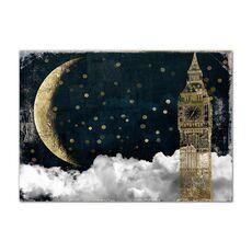 Tablou Canvas - Glitter Auriu, Londra, Big Ben, Luna, Gold, fig. 1